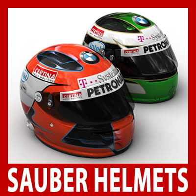 Robert Kubica and Nick Heidfeld F1 Helmets