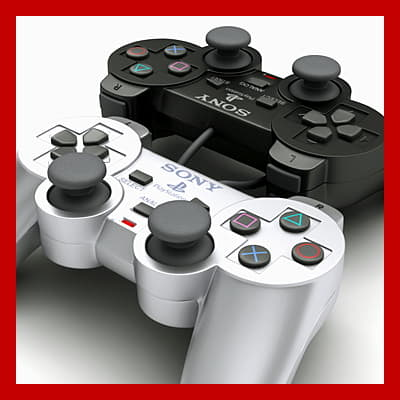 204 PS2 Controller Dualshock 2 Black and Silver Edition