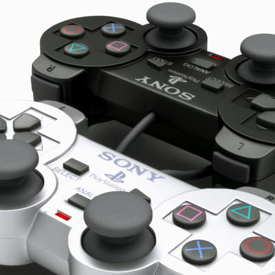 210 PS2 Controller Dualshock 2 Black and Silver Edition