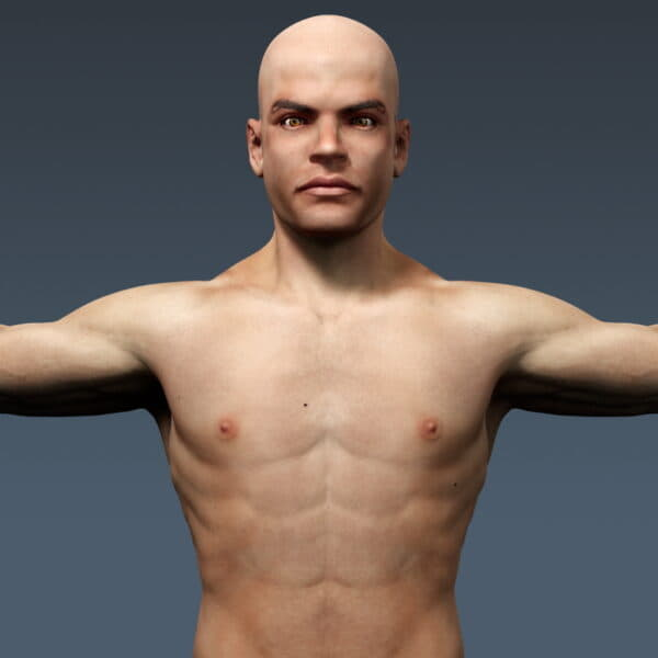 3688 Human Male Body and Respiratory System Textured Anatomy
