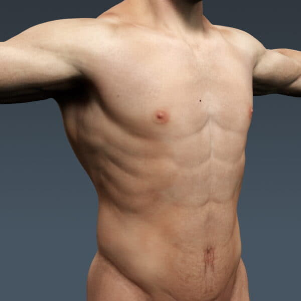 3694 Human Male Body and Respiratory System Textured Anatomy
