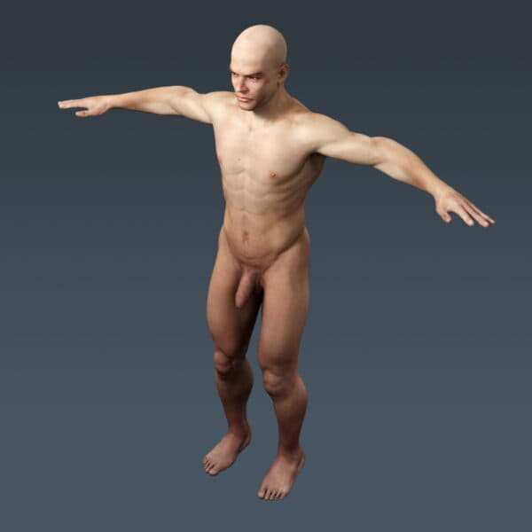 3707 Human Male Body and Respiratory System Textured Anatomy