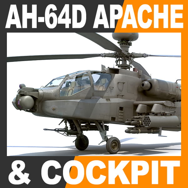 Boeing AH-64D Apache Longbow Helicopter with Cockpit