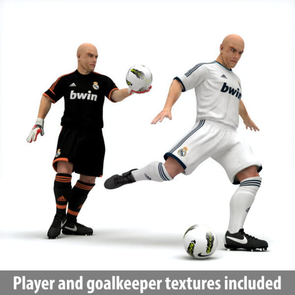 9380 Rigged Football Player and Goalkeeper Real Madrid CF