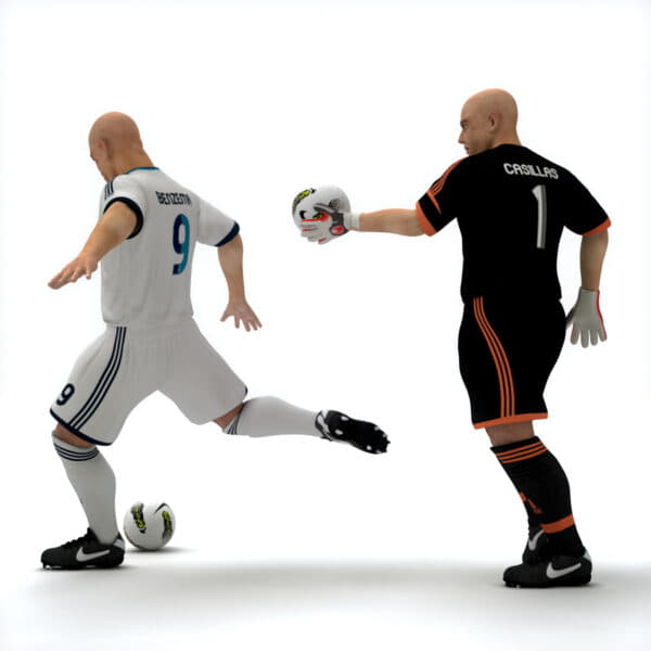 9382 Rigged Football Player and Goalkeeper Real Madrid CF