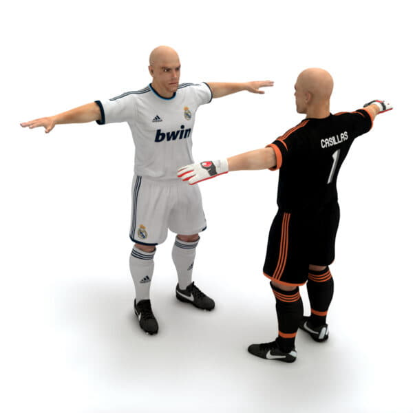 9384 Rigged Football Player and Goalkeeper Real Madrid CF