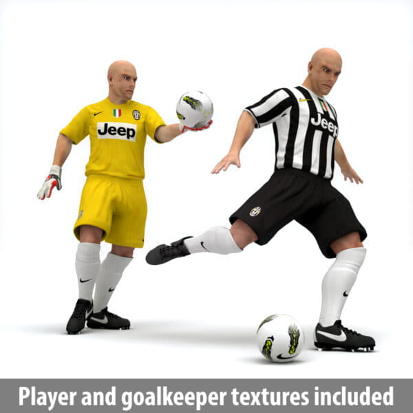 10444 Rigged Football Player and Goalkeeper Juventus FC