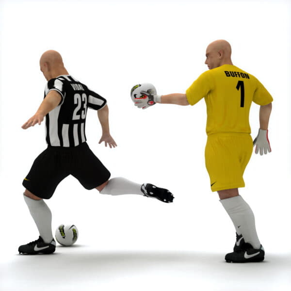 10446 Rigged Football Player and Goalkeeper Juventus FC