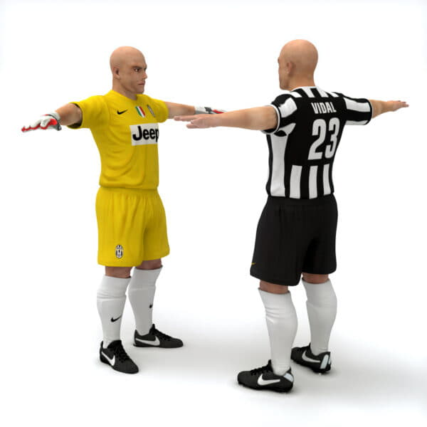 10447 Rigged Football Player and Goalkeeper Juventus FC